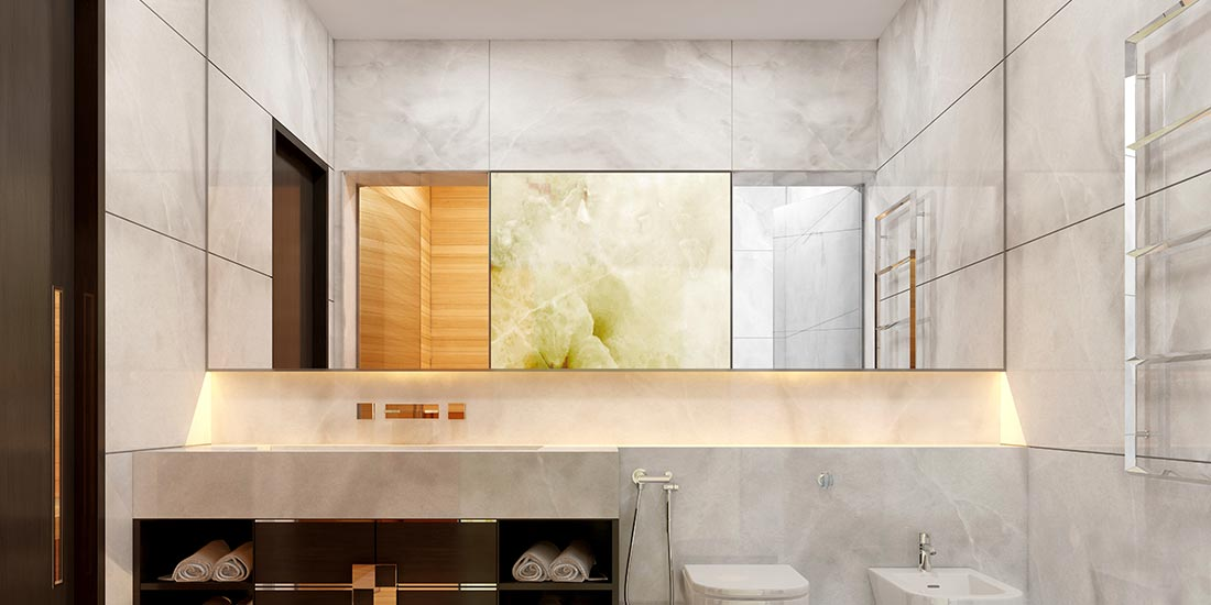 Bathroom glass mirrors