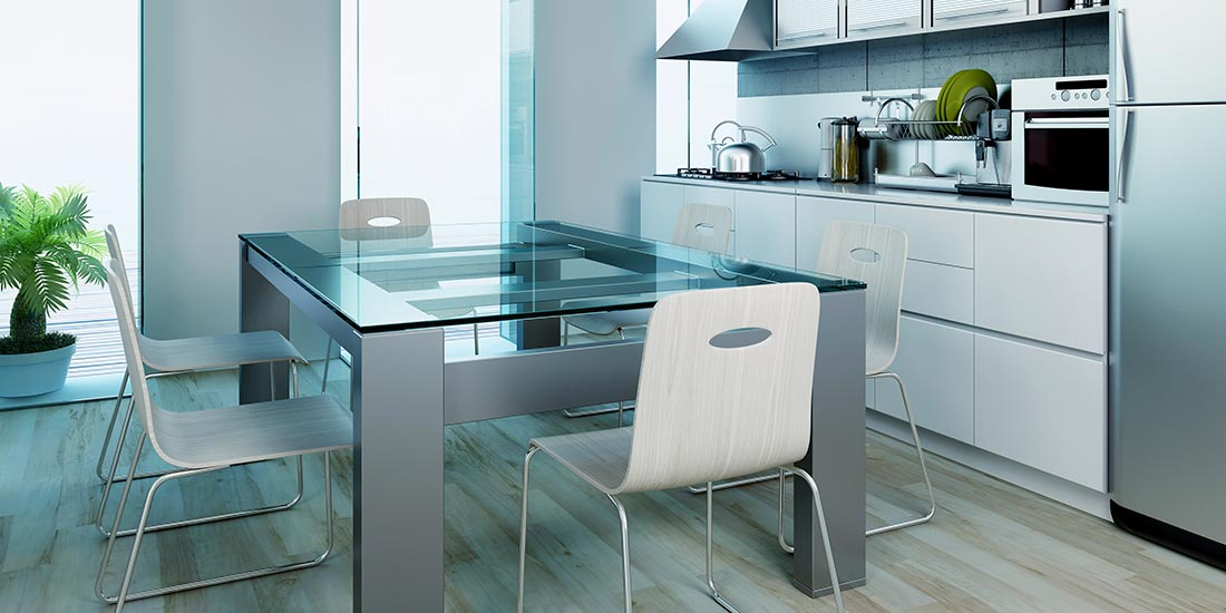 Kitchen refurbishment - glass table top