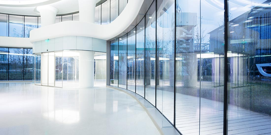 Commercial glazing - interior of office building