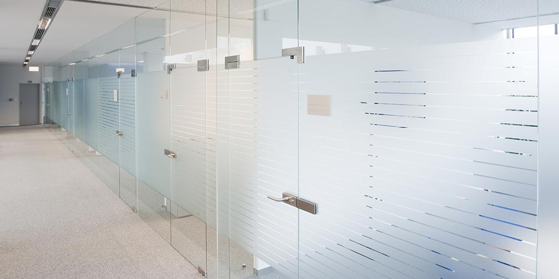 Commercial glazing - glass office walls