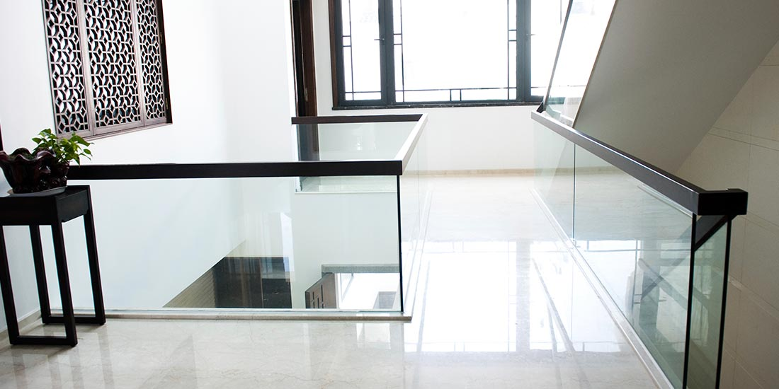 Commercial glass balustrade